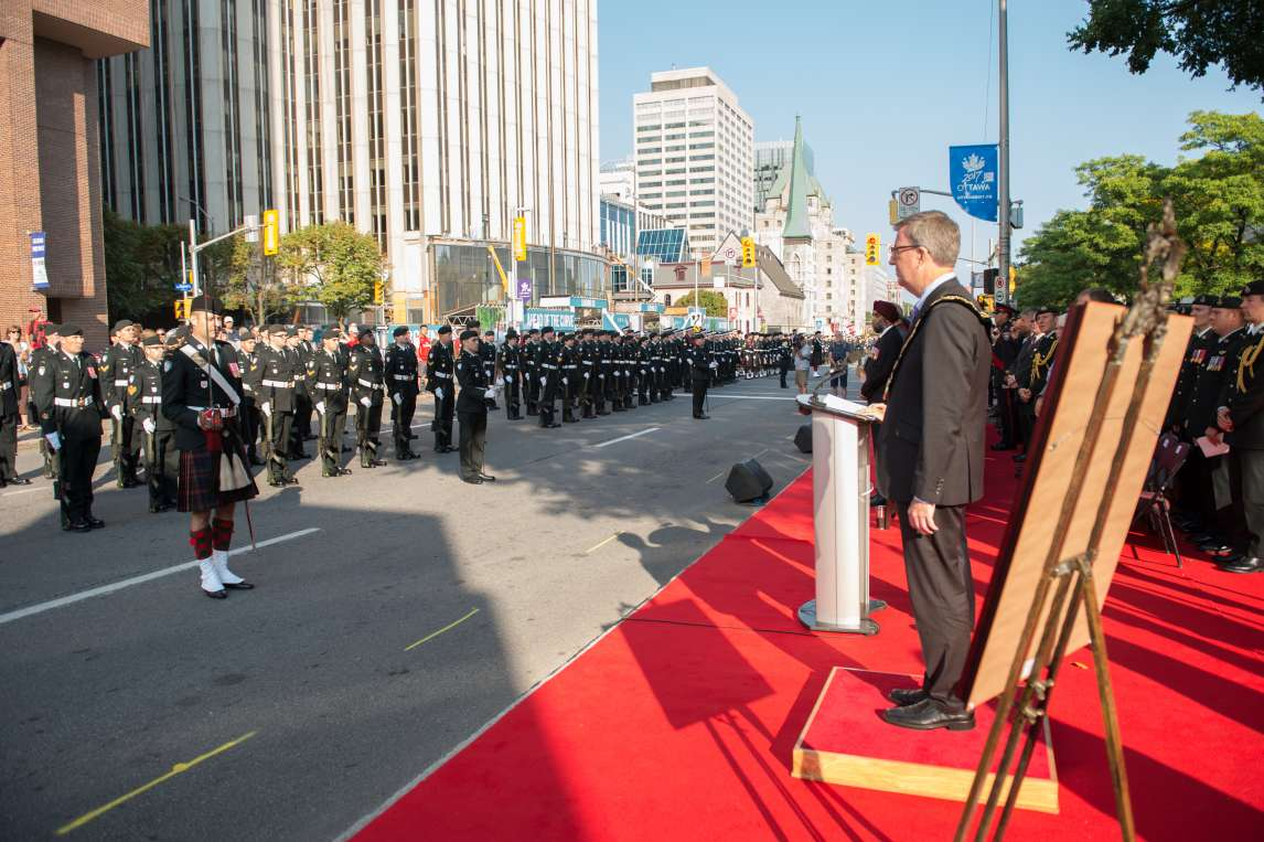 Military regiments lined up for Governor General
