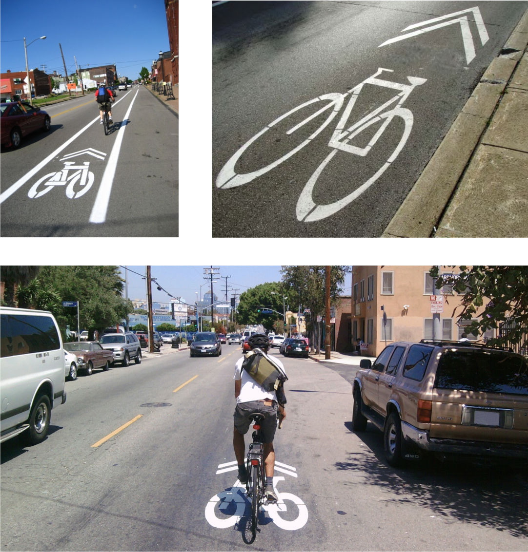 Photographs of cycling lanes