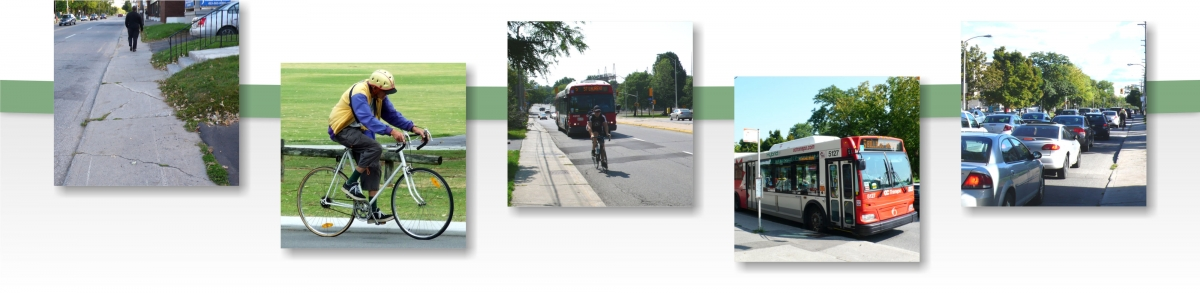 Photographs of various types of transportation such as walking, taking the bus, cycling and driving