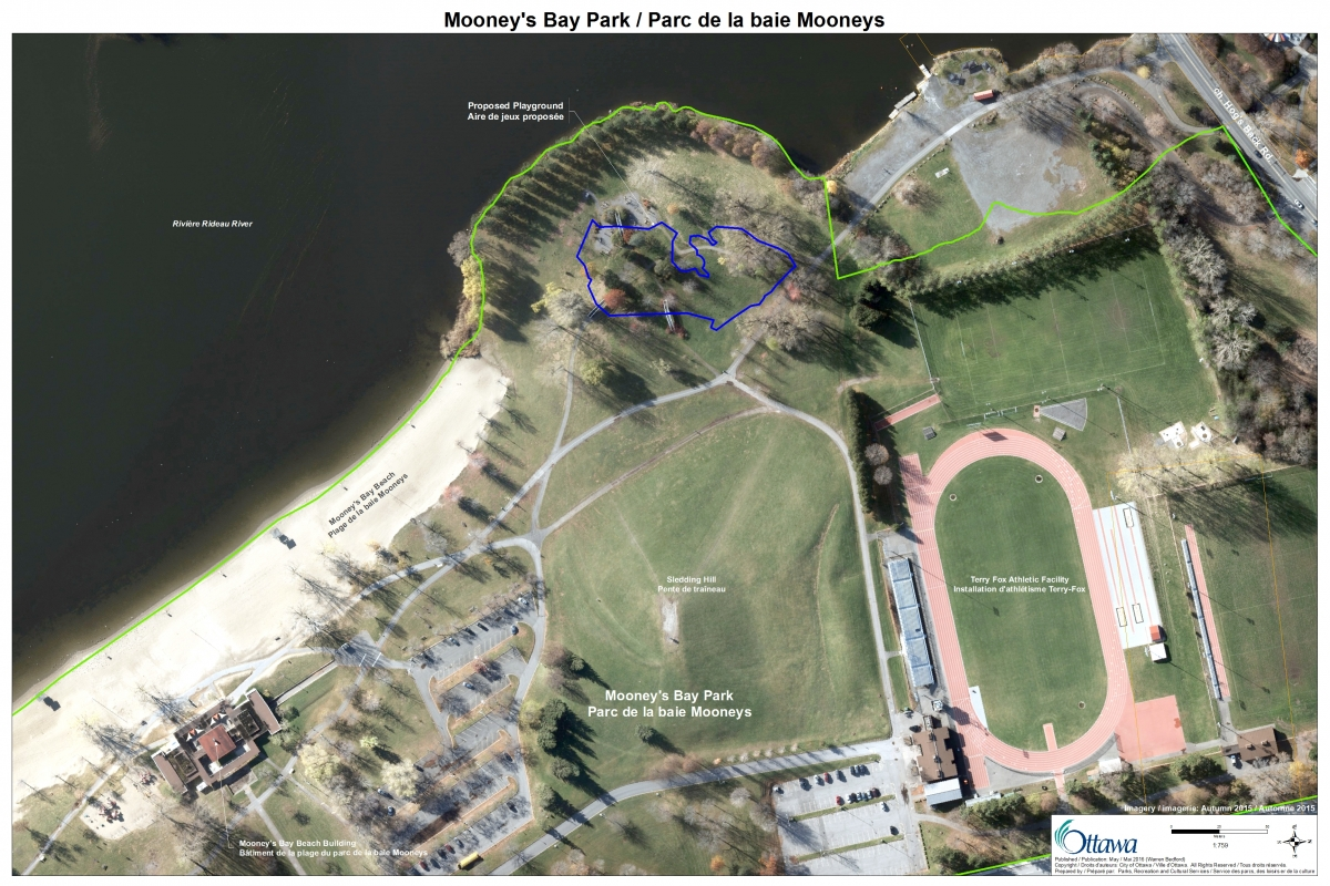 Aerial map of Mooney's Bay Park, focusing on the north section of the park, also showing a rough outline of the play structure footprint.
