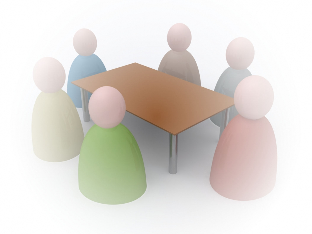 Drawing of people around a boardroom table