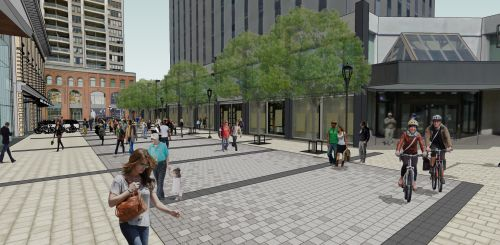 This image illustrates the proposed design of Ogilvy Square at Besserer Street looking north toward Rideau Street.