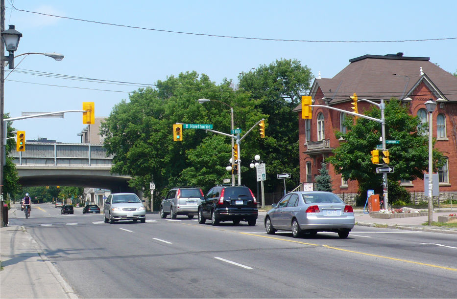 Photograph of Main Street at Hawthorne Avenue
