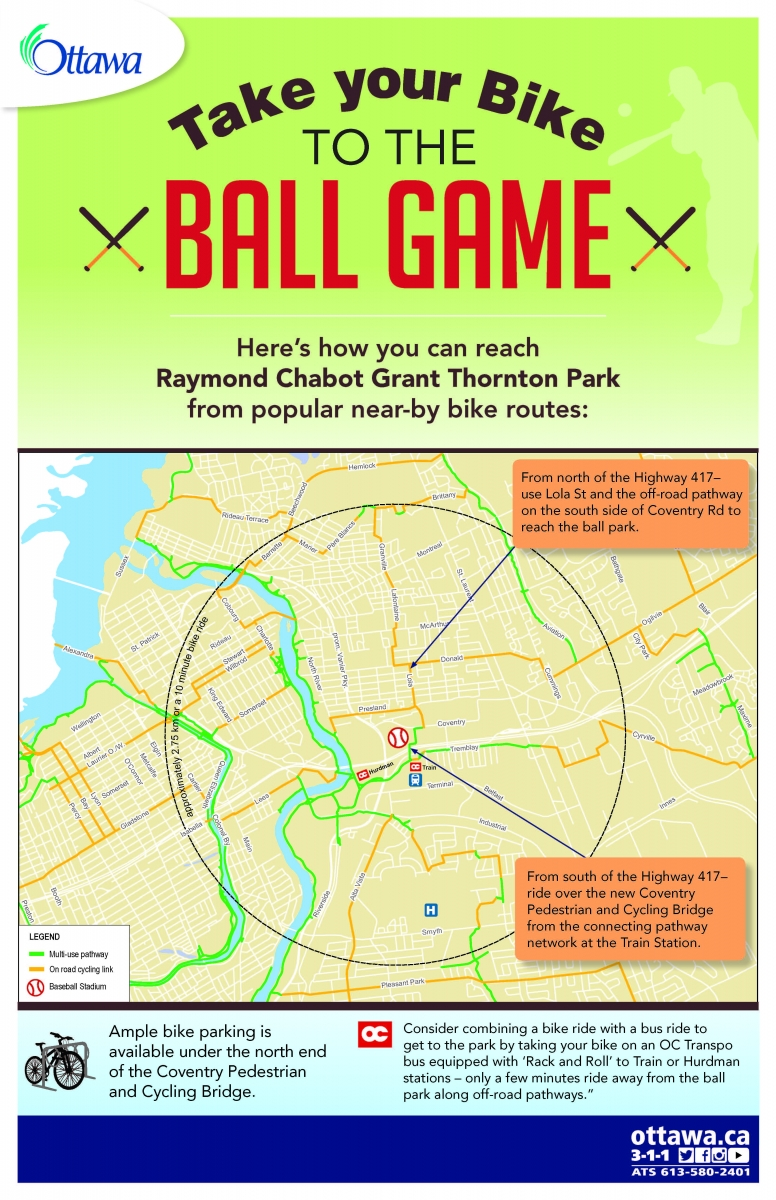 Directions on how to take your bike to the ball game.