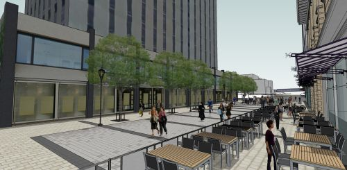 This image illustrates the proposed design of Ogilvy Square at Rideau Street looking south toward Besserer Street.