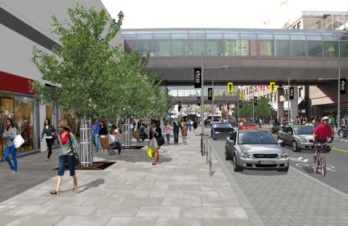 This image illustrates the proposed design of Rideau Street looking west toward Sussex Drive.