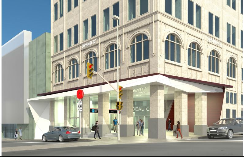 This image illustrates the integrated Rideau LRT Station entrance with Rideau Centre.