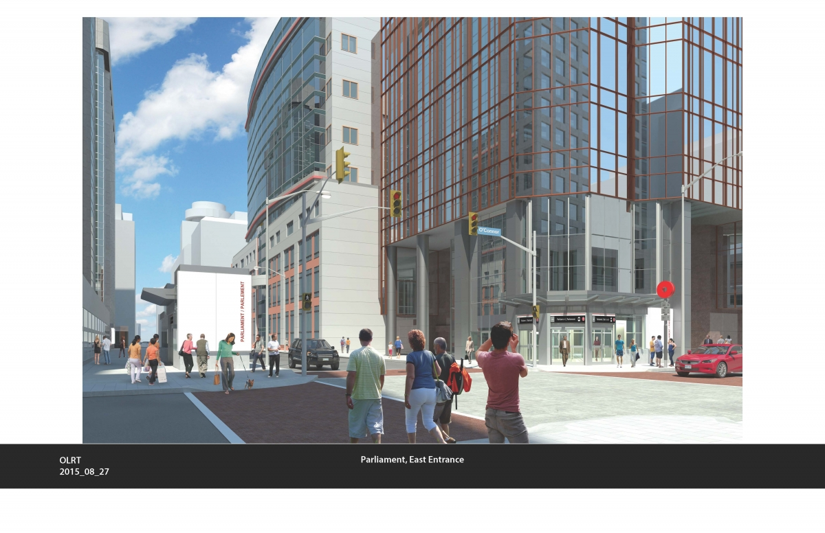 This image illustrates the integrated Parliament LRT Station entrances with existing buildings on Queen Street.