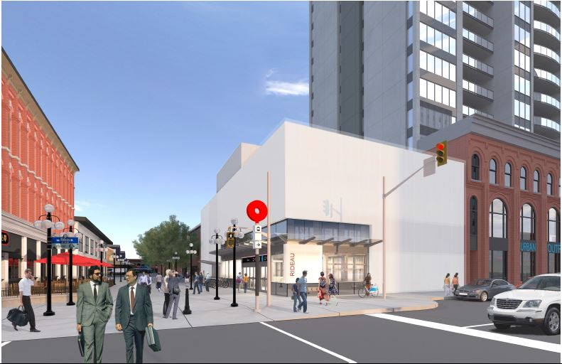 This image illustrates the integrated Rideau LRT Station entrance with buildings adjacent to the William Street Pedestrian Mall.  The image faces north toward Rideau Street.