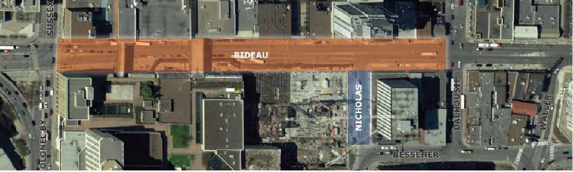 The proposed construction limits of the Rideau Street Phase III Detailed Design – in orange – from Sussex Street (project western limit) to Dalhousie Street (project eastern limit). The proposed construction limits of the Nicholas Street Transformation Design and Construction – in blue – from Rideau Street (project northern limit) to Besserer Street (project southern limit).