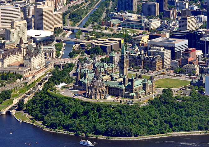 An aerial shot of the City of Ottawa downtown