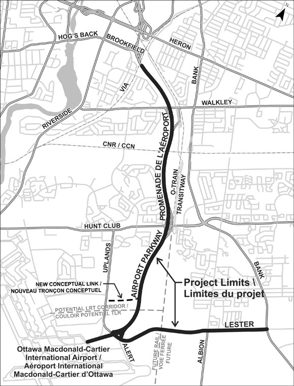 Study area map for the widening of the Airport Parkway between Brookfield Avenue to the Ottawa Macdonald-Cartier International Airport and the widening of Lester Road from the Airport Parkway to Bank Street.