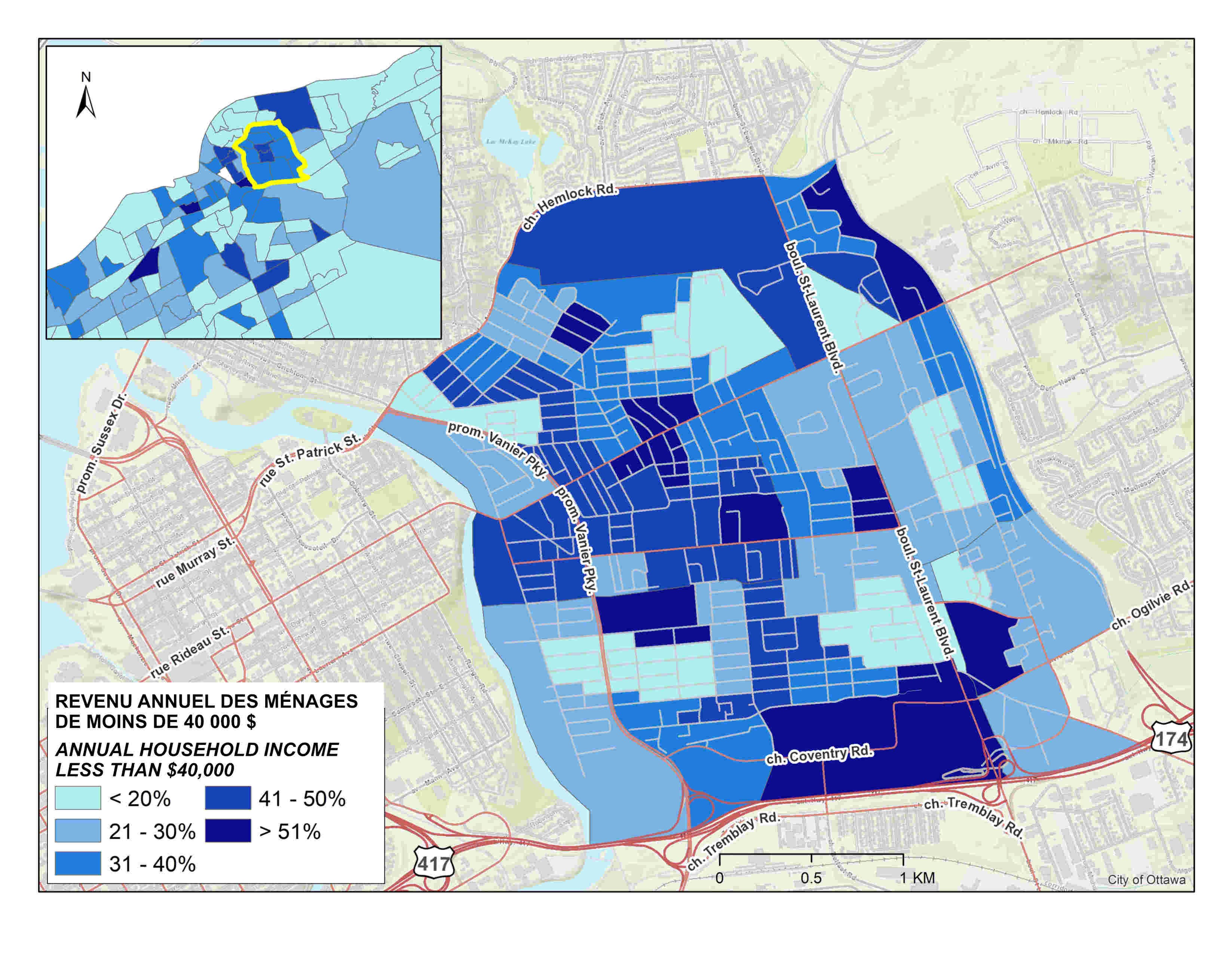 Map of annual household income less than $40,000 <20% 21-30% 31-40% 41-50% >51%