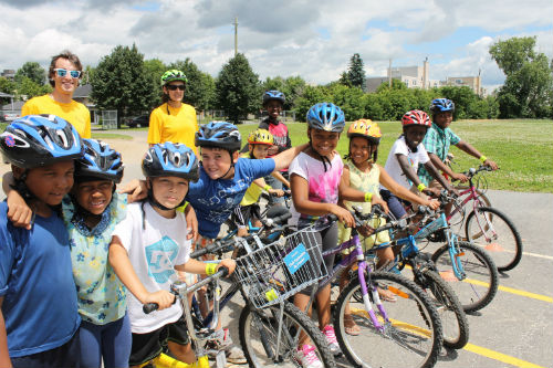Children participating in a bike rodeo