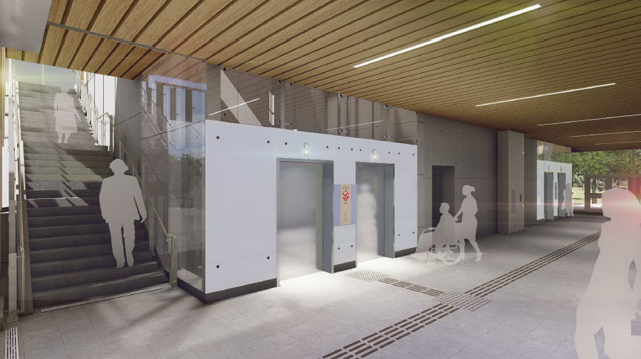 This image is an artistic representation of the Bowesville Station design. The final product may not be exactly as shown.