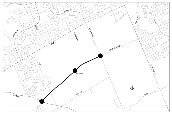 Key plan showing the limits of the Brian Coburn Boulevard extension, from Navan Road to Mer Bleue Road, with proposed roundabouts at the intersection of Navan Road, the future Belcourt Boulevard and Mer Bleue Road.