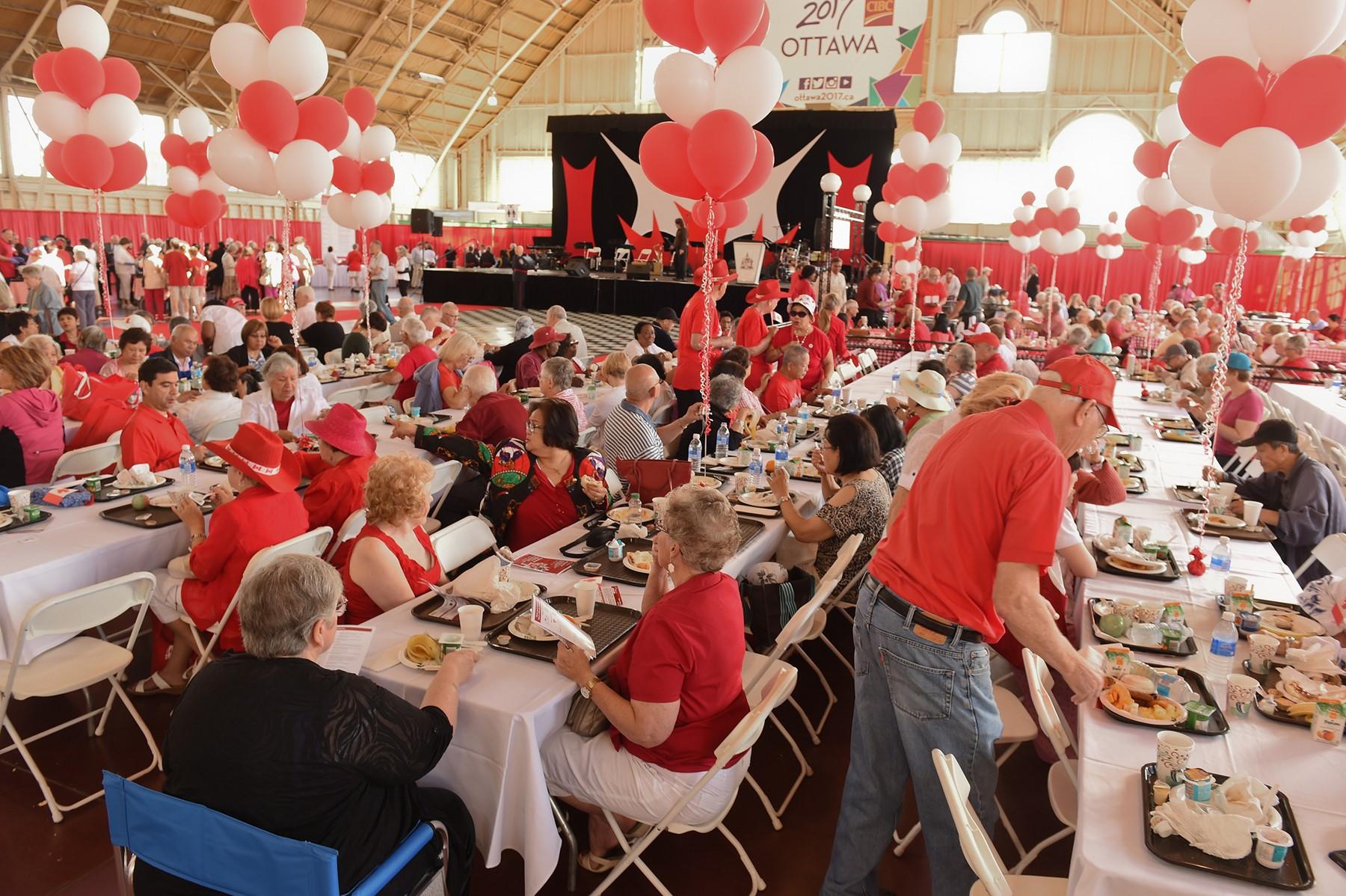 Residents having Canada Day breakfast