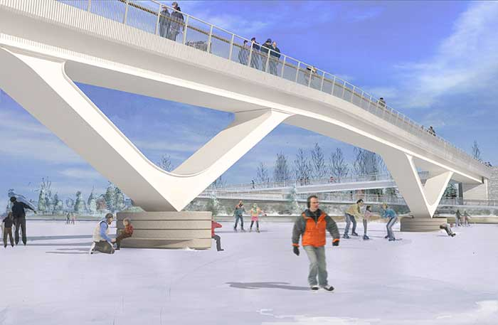 An elevation view from the ice showing the bridge, piers and eastern ramp access.