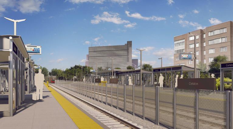 This image is an artistic representation of the Carleton Station design. The final product may not be exactly as shown.Cette image est une représentation artistique de la conception de la station Carleton. Le produit final peut différer de l'illustration.