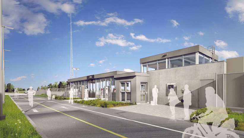 This image is an artistic representation of the Dow's Lake Station design. The final product may not be exactly as shown. Cette image est une représentation artistique de la conception de Station Lac Dow. Le produit final peut différer de l'illustration.
