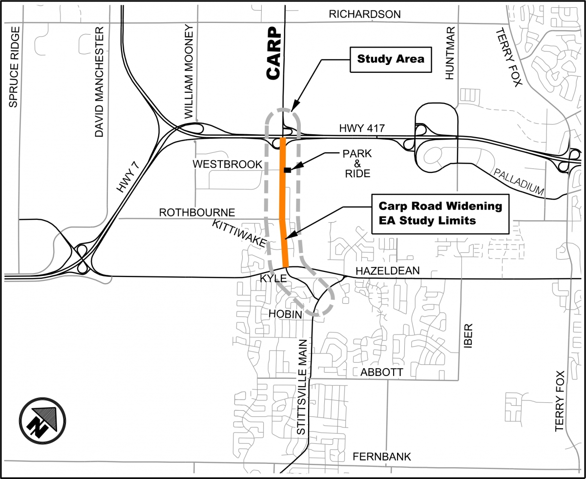 Study area for the widening of Carp Road from Highway 417 to Hazeldean Road