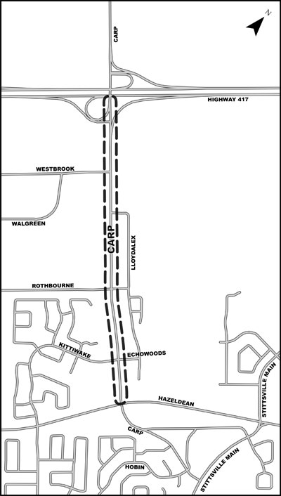 While the widening is focused on the 2 km segment between Highway 417/Carp Road Interchange and Hazeldean Road/Carp Road intersection, the study area (Figure 1) includes the section of Carp Road south of Hazeldean Road (to Stittsville Main Street) to ensure that downstream effects of the proposed widening are fully addressed.