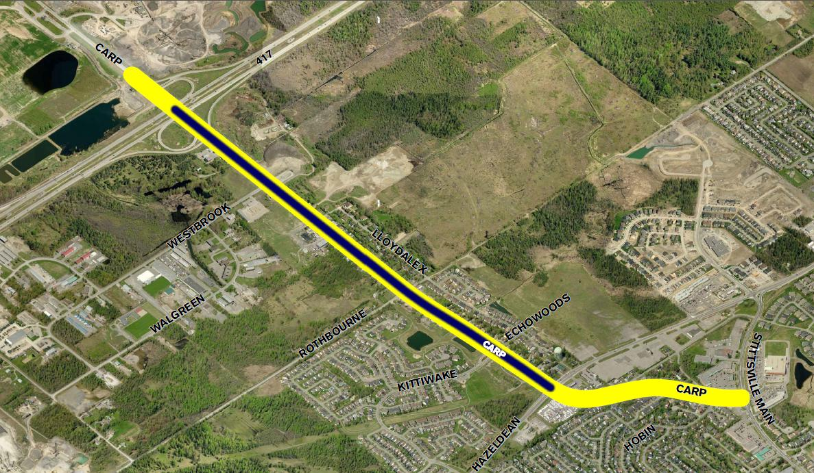 While the widening is focused on the 2 km segment between Highway 417/Carp Road Interchange and Hazeldean Road/Carp Road intersection, the study area (Figure 1) includes the section of Carp Road south of Hazeldean Road (to Stittsville Main Street).