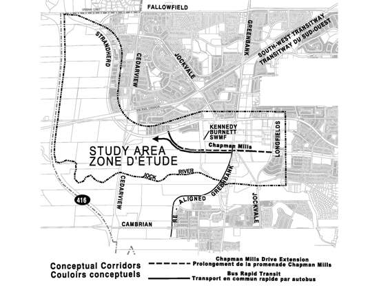 Study area - Chapman Mills Drive (Longfields Drive to Strandherd Drive) and Bus Rapid Transit (Greenbank Road to west of Cedarview Road).