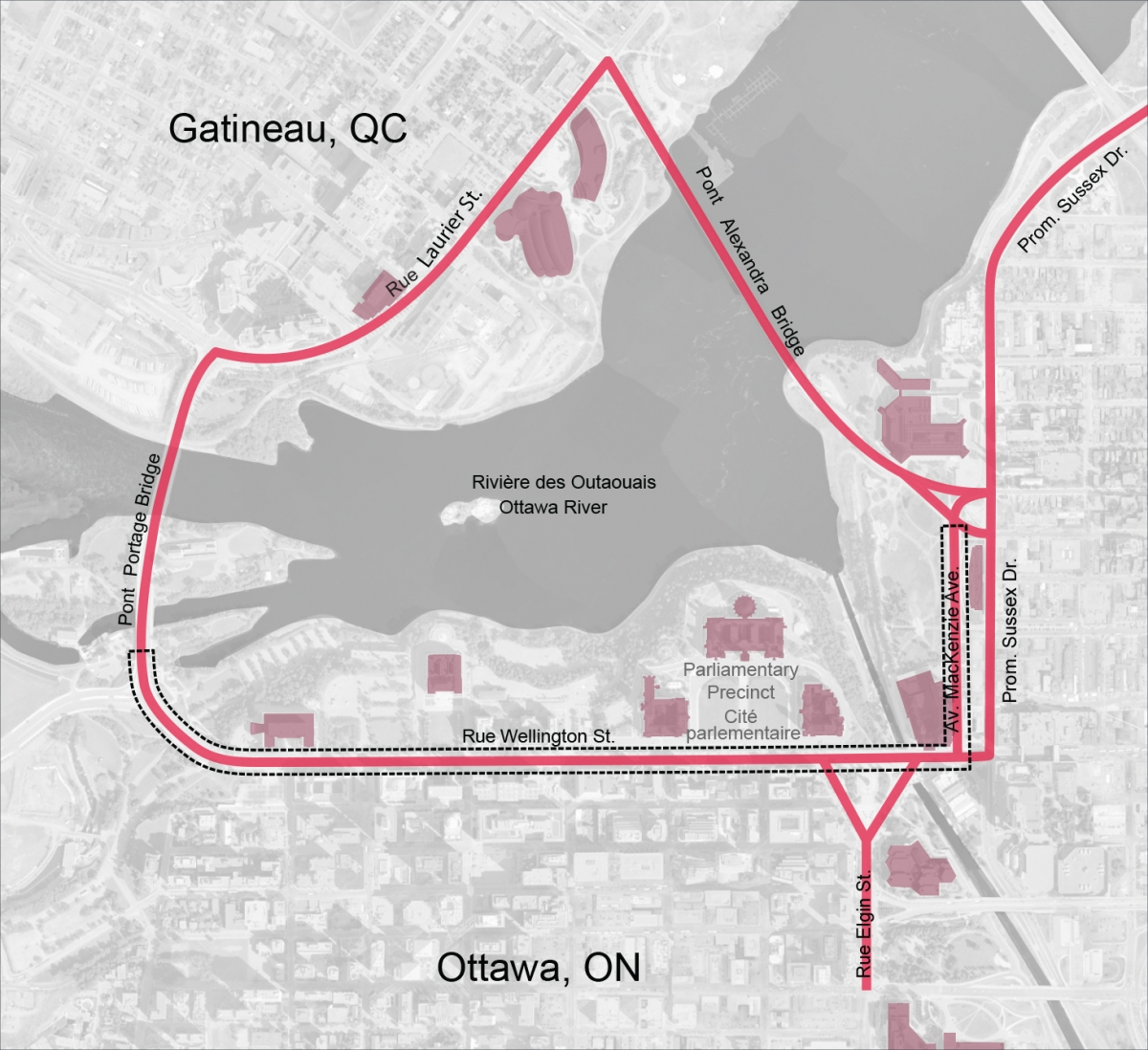 Map showing the route of Confederation Boulevard running in a loop between Ottawa and Gatineau, using the Portage and Alexandra Bridges. The major road segments on the Ottawa side are Mackenzie Avenue and Wellington Street.