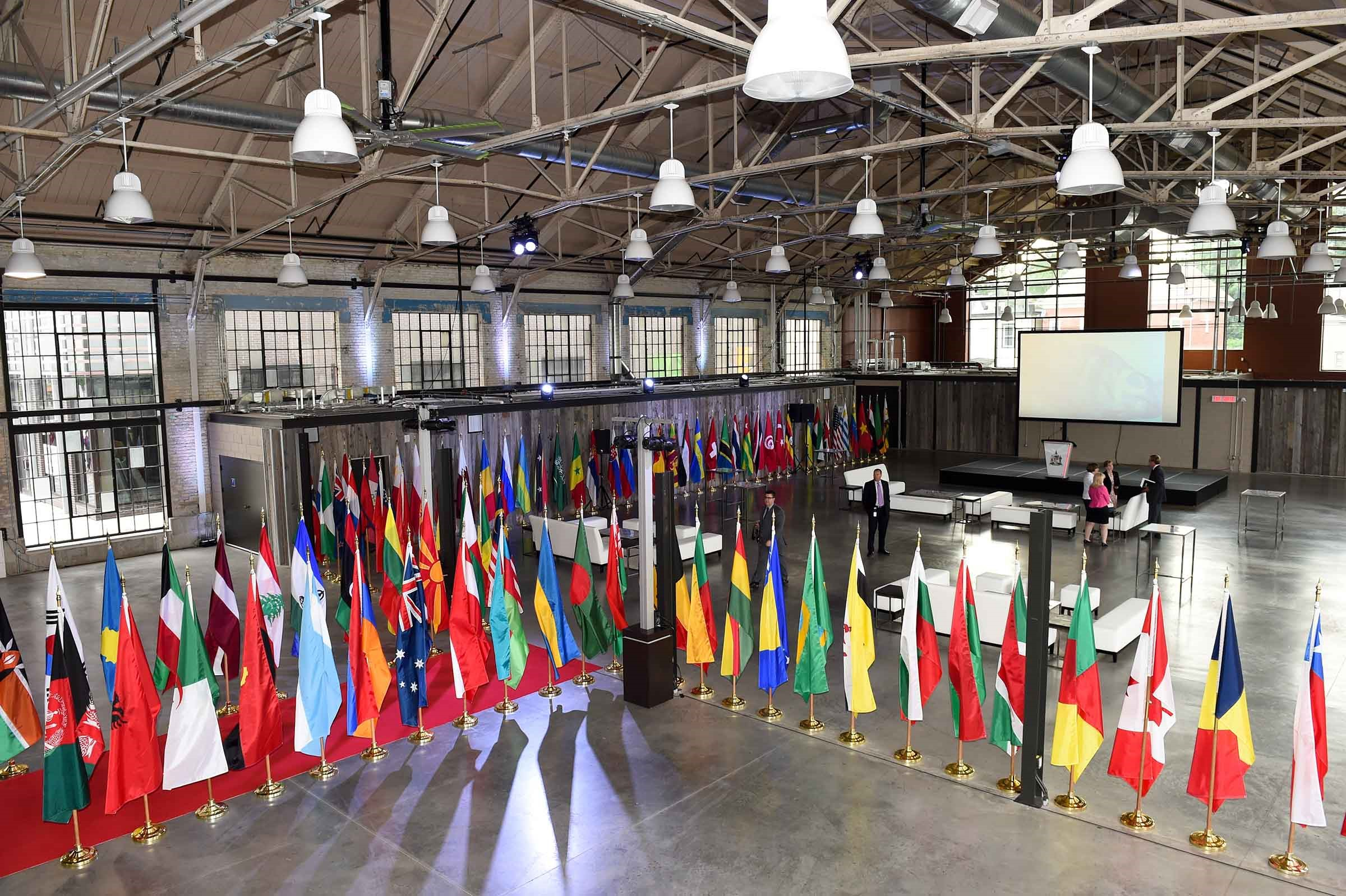 Reception hall with Diplomatic Corps flags on red carpet