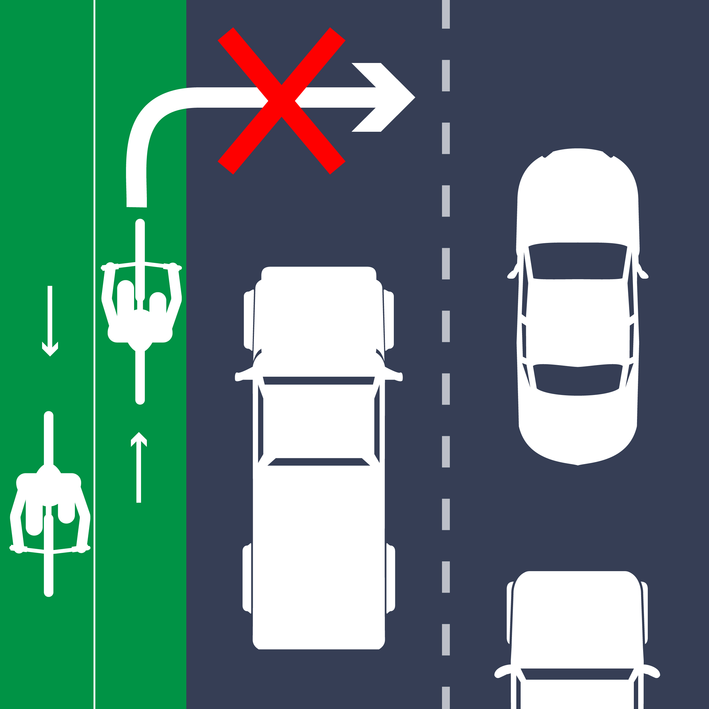 Cyclists should not cross vehicular traffic lanes to turn right.