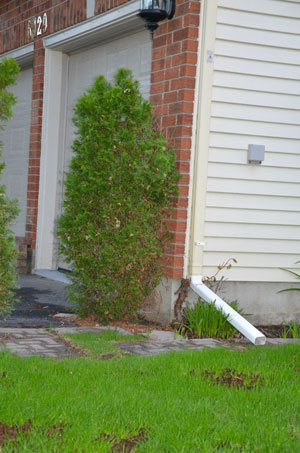Example of downspout re-direction