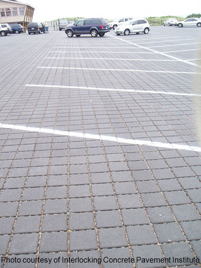 Example of permeable pavers in a parking lot
