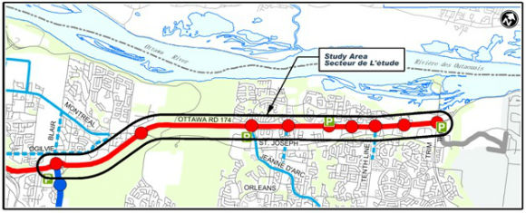Study area - The Eastern LRT project limits extend from Blair Station to Trim Road
