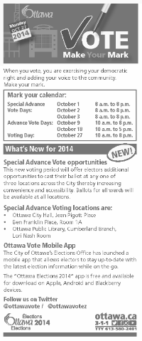 "Image of the ""Make your Mark"" brochure. Brochure includes information on special advance voting days, what offices to vote for, eligibility to vote, accessibility initiatives for 2014 Elections, how to check if an elector is on the voter's list, and what identification is needed to vote."