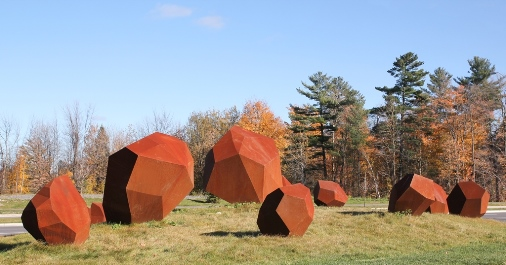 Erratic Field in autumn. Further information about the artwork is included in the following paragraph.
