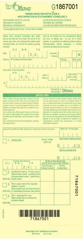 Exemple d'avis d'infraction de stationnement « G »  – Infraction rédigée à la main