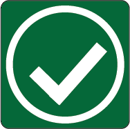 A green square with a check mark indicating a premise is approved for operation