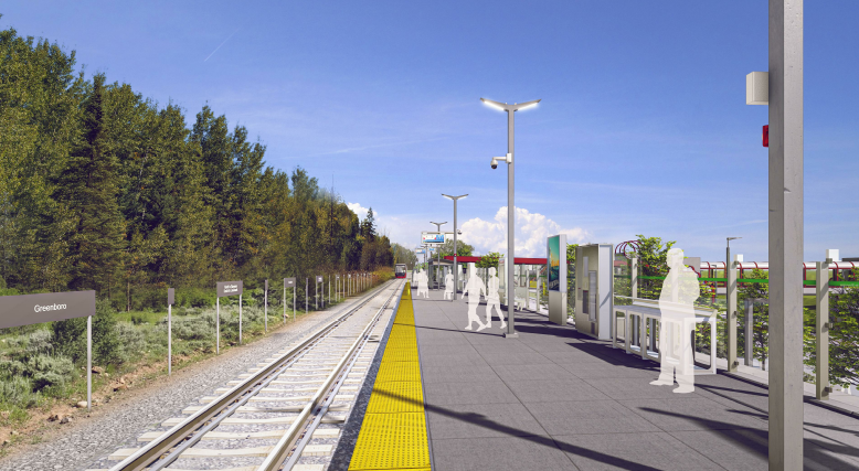 This image is an artistic representation of the Greenboro Station design. The final product may not be exactly as shown. Cette image est une représentation artistique de la conception de la station Greenboro. Le produit final peut différer de l'illu