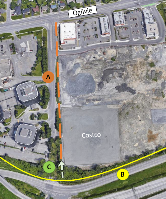 A community connection is proposed west of 2012 Ogilvie Road. This connection will allow cyclists and pedestrians travelling along the new Ogilvie Road multi-use pathway to take a direct route to Blair Station.