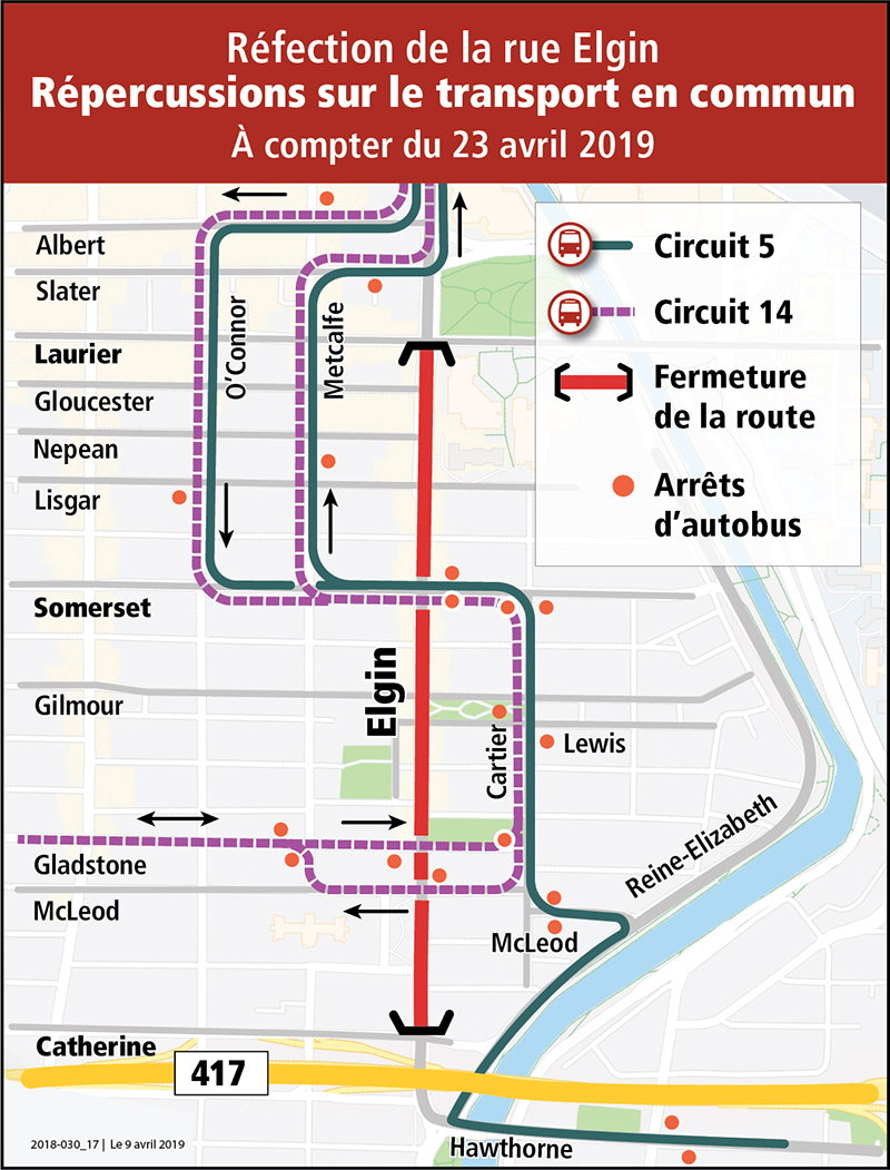 Carte de déviation routière indiquant le détour des circuits d'autobus 5 et 14. Plutôt que de circuler sur la rue Elgin, les autobus emprunteront les rues Somerset et Cartier afin d'accéder à la promenade Reine-Élizabeth.