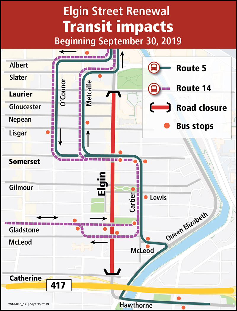 Bus detour map showing routes 5 and 14 detouring around Elgin Street, down Somerset and Cartier to access Queen Elizabeth Drive.