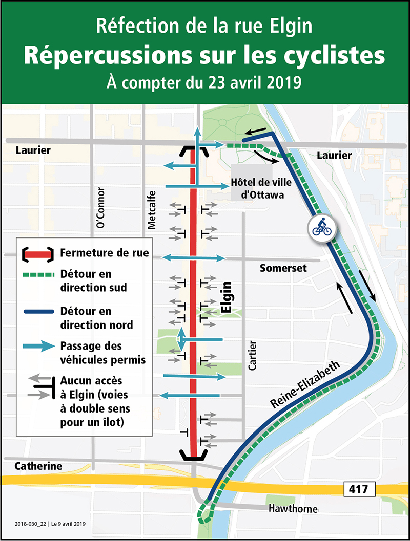 Carte de déviation de la circulation cycliste indiquant l'option de voies partagées, en direction nord et sud, le long de la promenade Reine-Élizabeth.