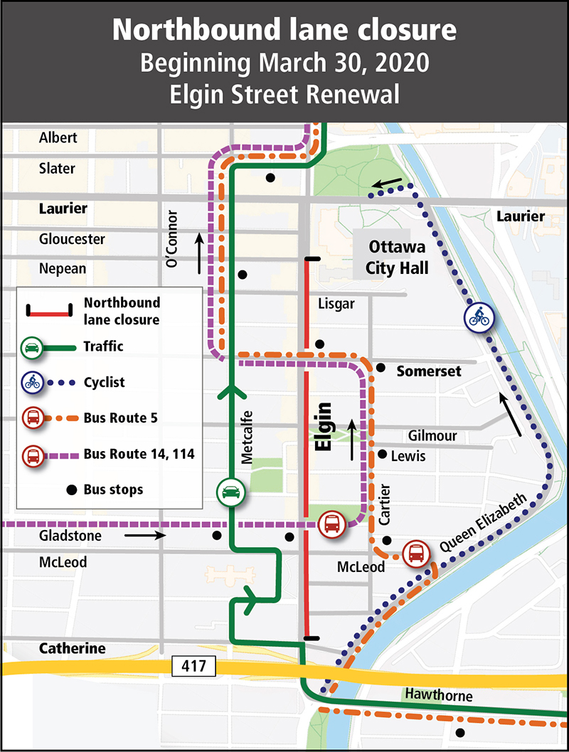 Map of northbound detour along Metcalfe for traffic, Cartier and Metcalfe for buses, and Queen Elizabeth Drive for cyclists