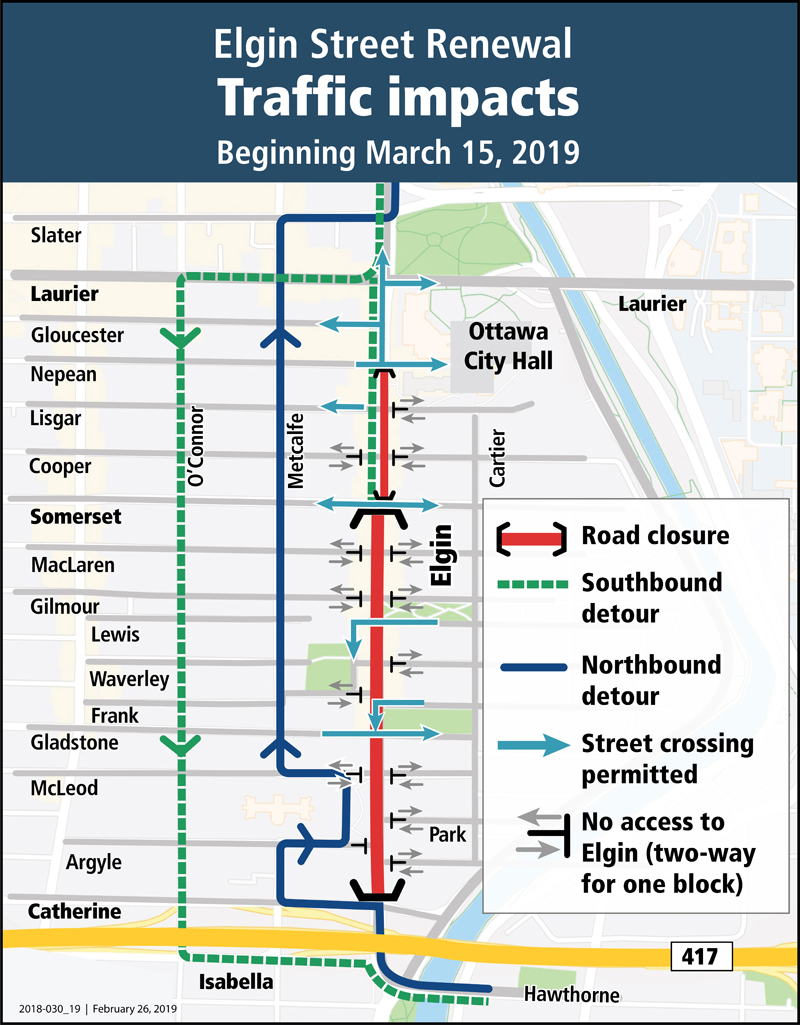 Traffic detour map showing north and south detours, as well as designated street crossings across Elgin.
