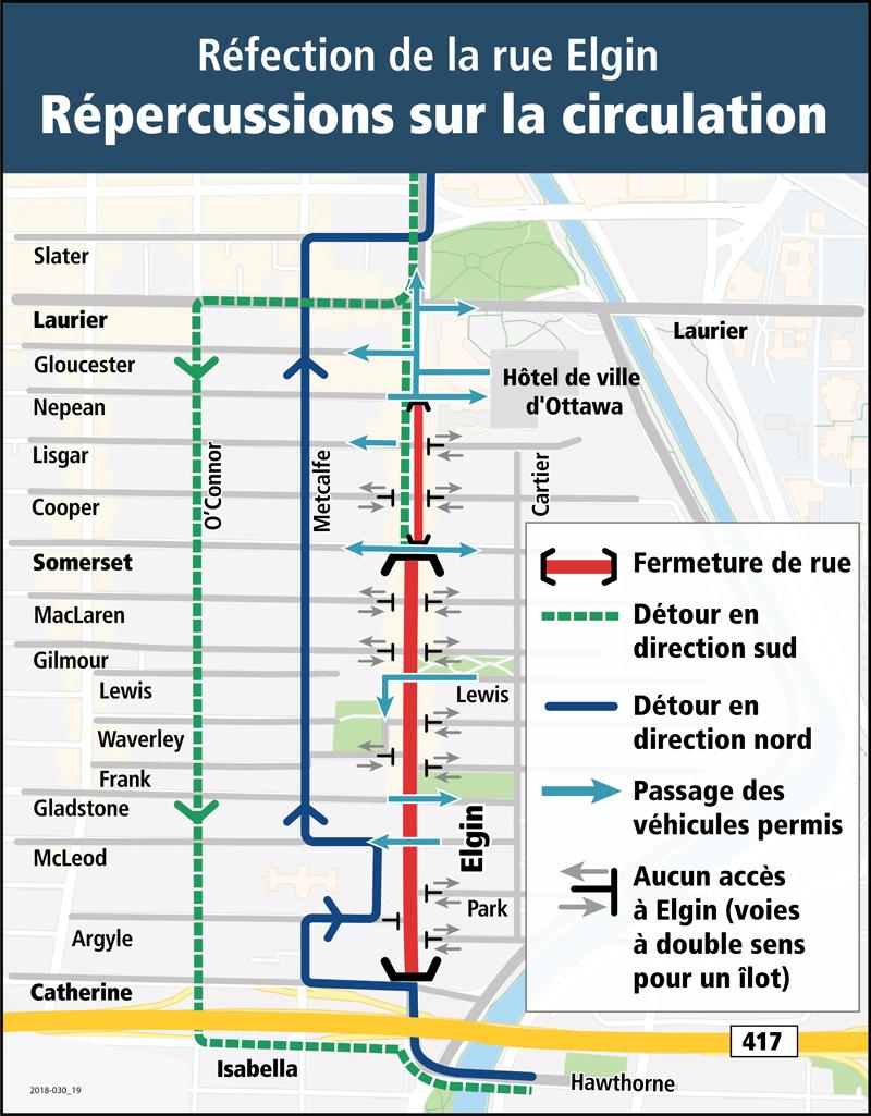 Carte de déviation routière indiquant les détours en place, en direction nord et sud, ainsi que les passages pour véhicules désignés pour la rue Elgin, à la hauteur des rues Somerset, Lewis, Gladstone et McLeod.