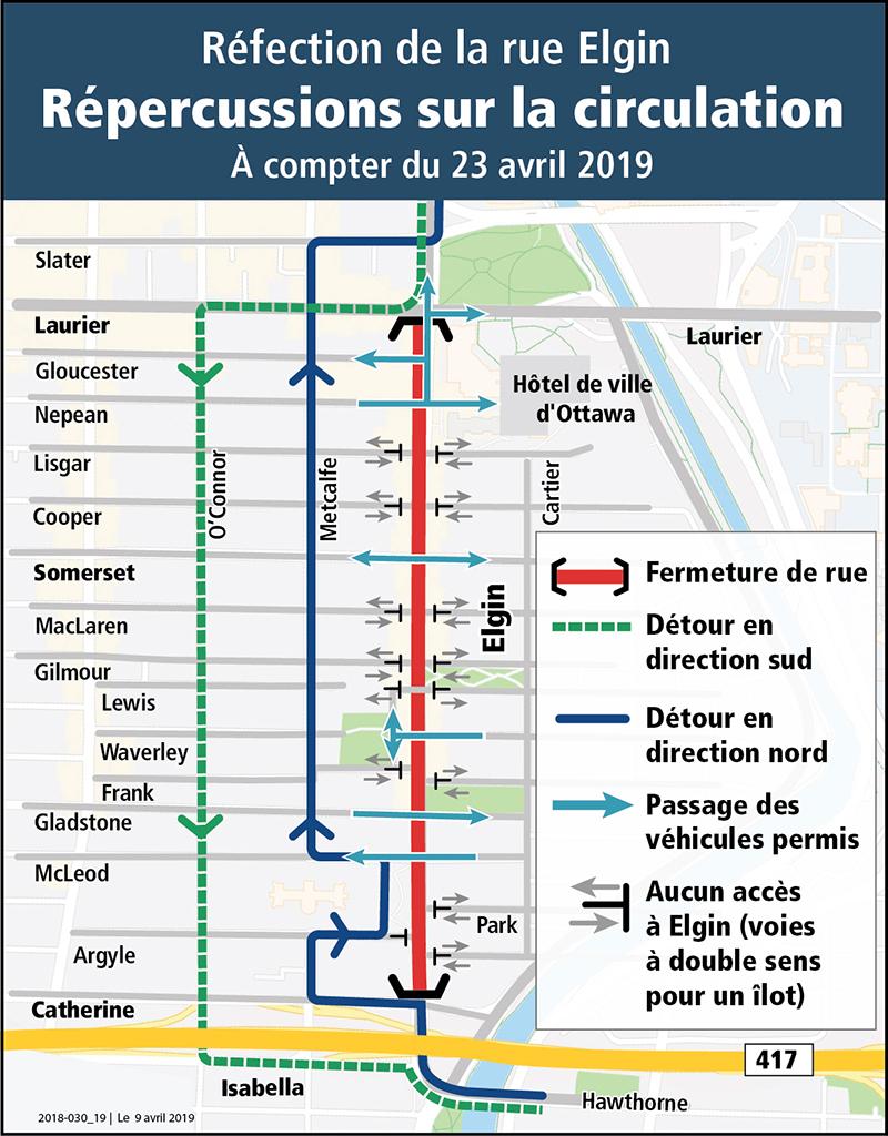 Carte de déviation routière indiquant les détours en place, en direction nord et sud, ainsi que les passages pour véhicules désignés pour la rue Elgin.
