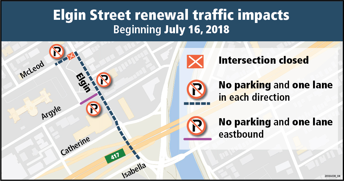 Traffic impacts due to utility work on Elgin Street beginning July 16