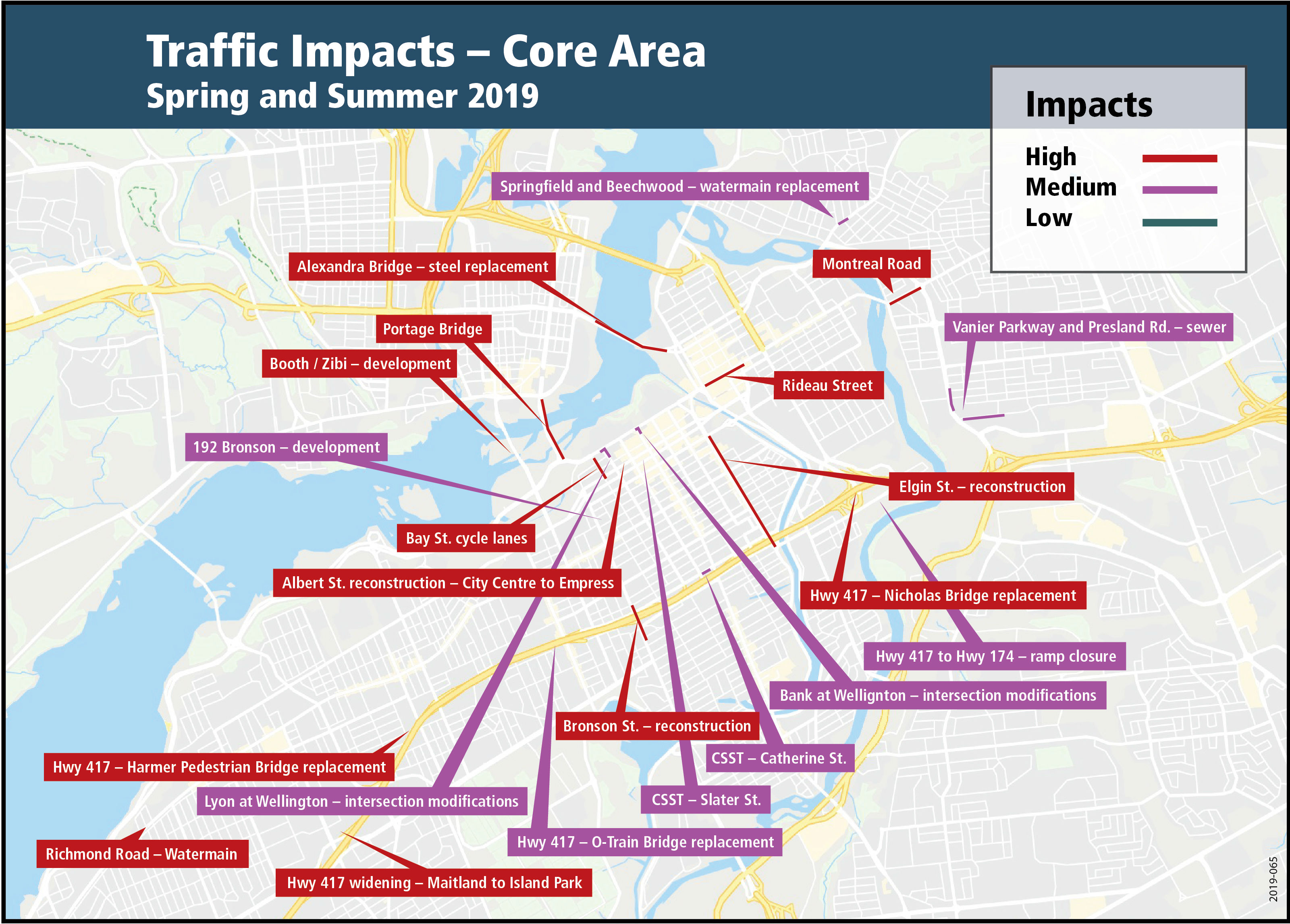 A map showing the low, medium and high traffic impacts for the spring/summer of 2019 as a result of construction work within the core area of Ottawa.