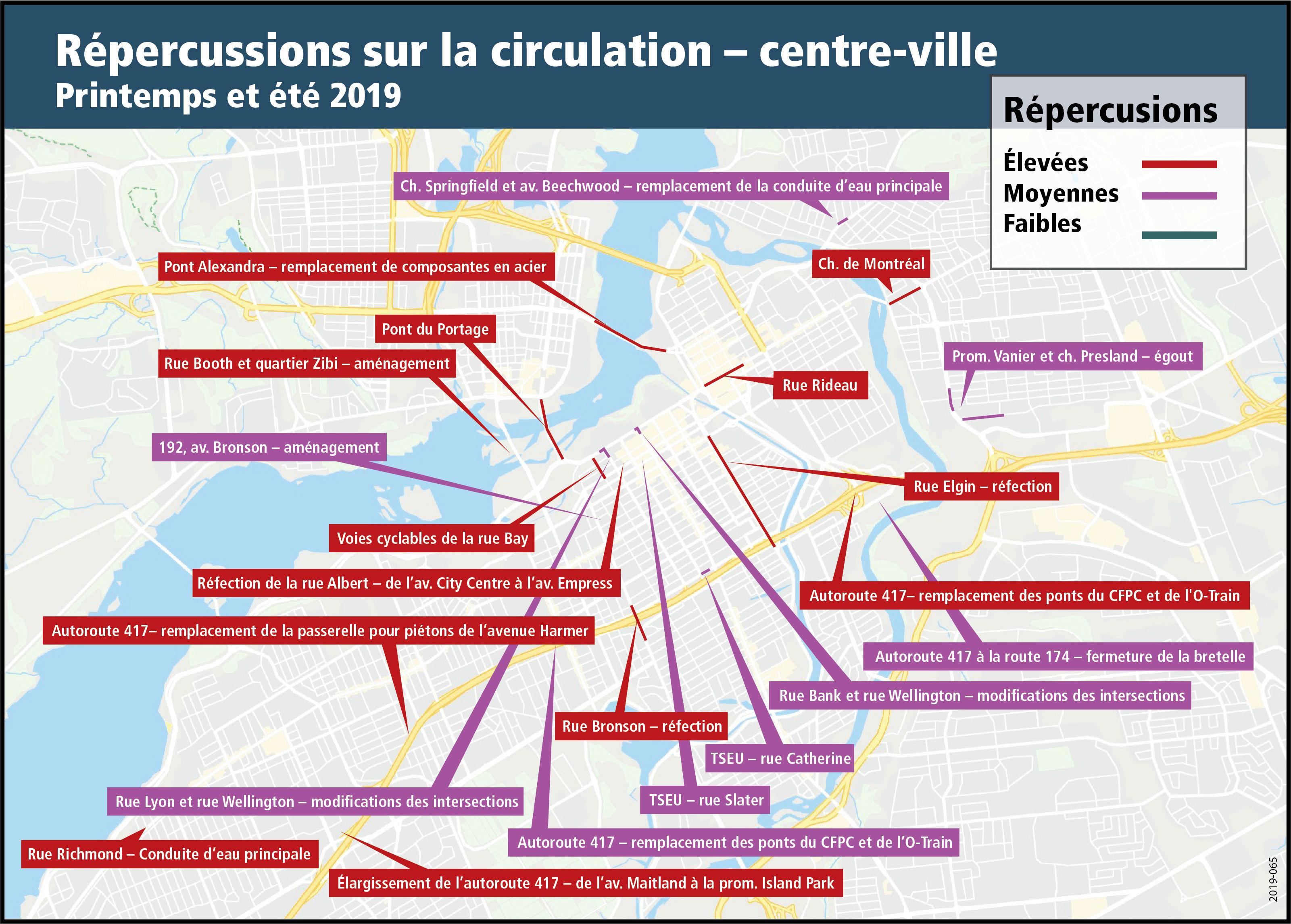 Une carte illustre les perturbations prévues de la circulation (faibles, modérées et importantes) au printemps et à l'été 2019, en raison des travaux au centre-ville d'Ottawa.